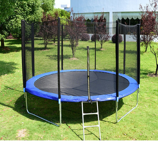 Kids mesh net equipped, home and outdoor blue trampoline.