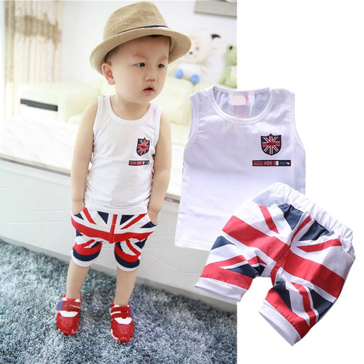 Baby Kids cotton white vest and UK Flag print shorts dress set.