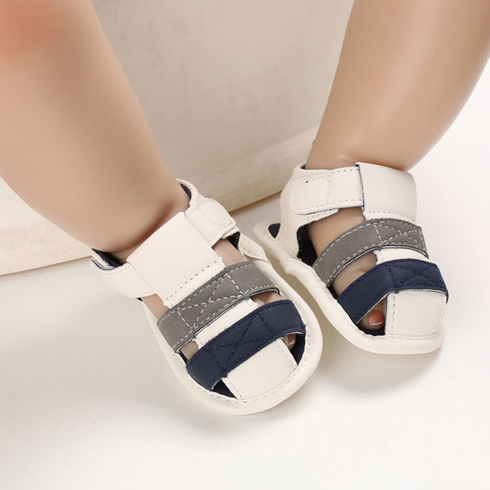 Baby Kids ankle strap, white & blue first walker sandal shoes.