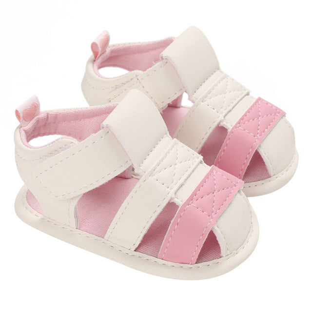 Baby Kids ankle strap, white & pink first walker sandal shoes.