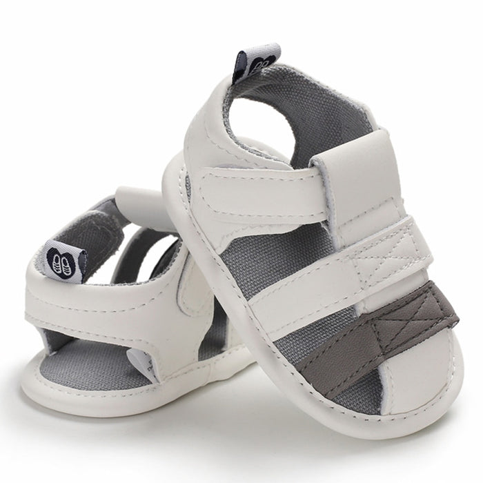 Baby Kids ankle strap, white & grey first walker sandal shoes.