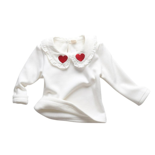 Baby Girls heart print, lace turn down collar, long sleeve, white t-shirt top.