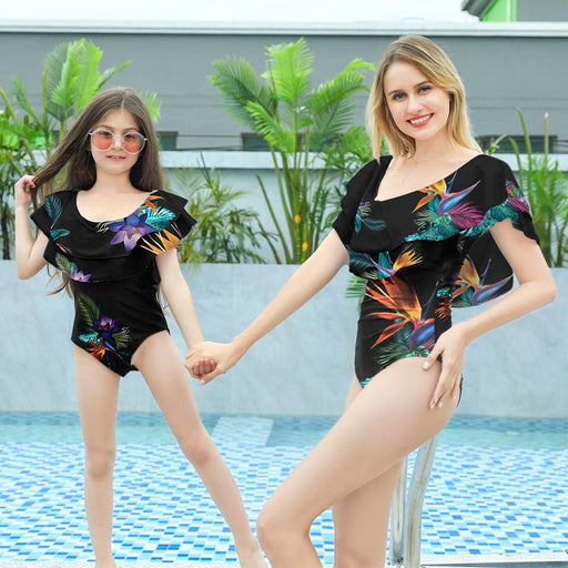 Mother Daughter family matching beach wear suits, floral print black twinning swimsuits.