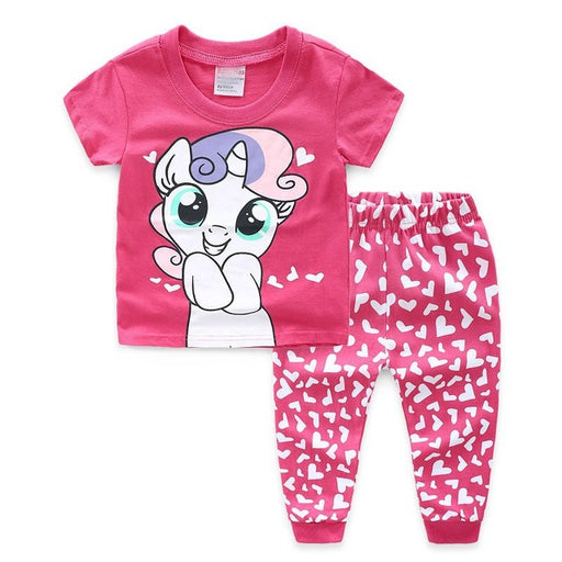 Baby Girls cartoon print top and heart print pants, pink pajama dress set. Home wear clothing.