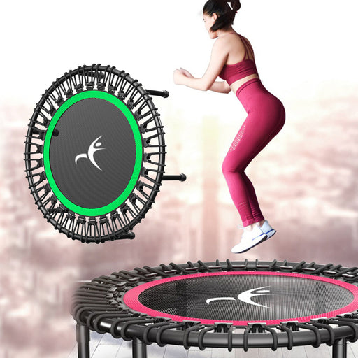 Adults & Kids sports exercise, fitness, jumping rubber bed mat, outdoor green and pink trampoline, gym trampoline.