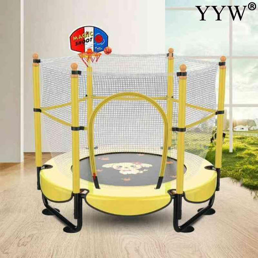 Kids exercise jumping bed, mini jumping yellow trampoline, indoor basketball stand.