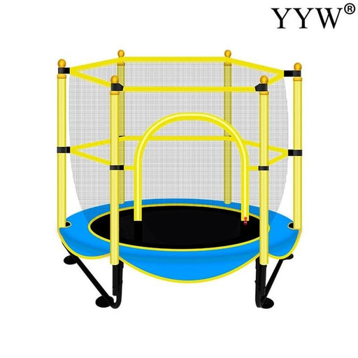 Kids exercise jumping bed, mini jumping blue trampoline, indoor basketball stand.