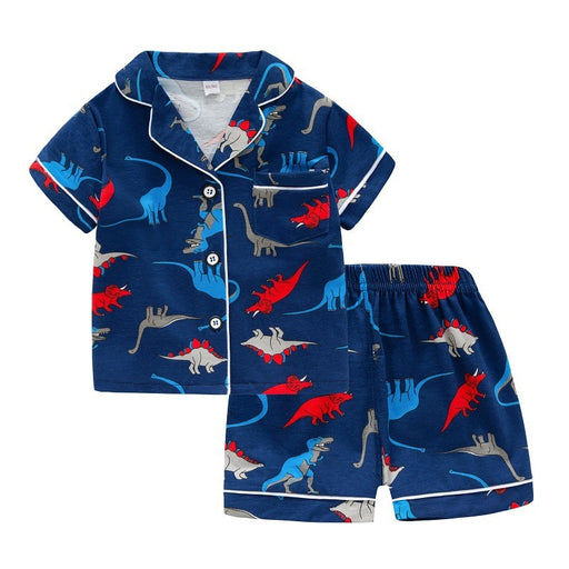 Baby Kids dinosaur print, turn down collar, blue shirt top and shorts, pyjama home wear set.