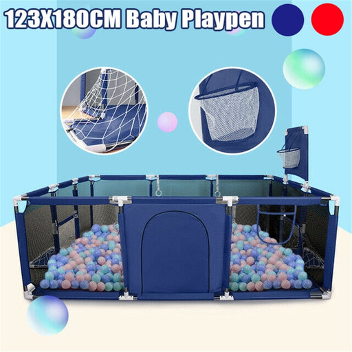 Baby Kids mesh net fencing, basketball stand, ball pool, activity blue playpen.