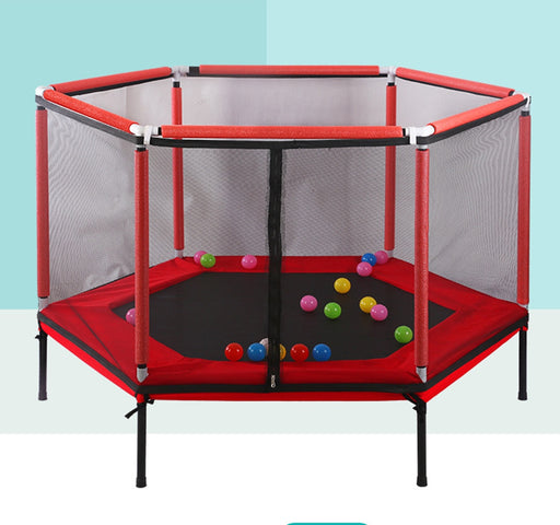Kids mesh net protection, exercise jumping bed, indoor red ball pool trampoline.