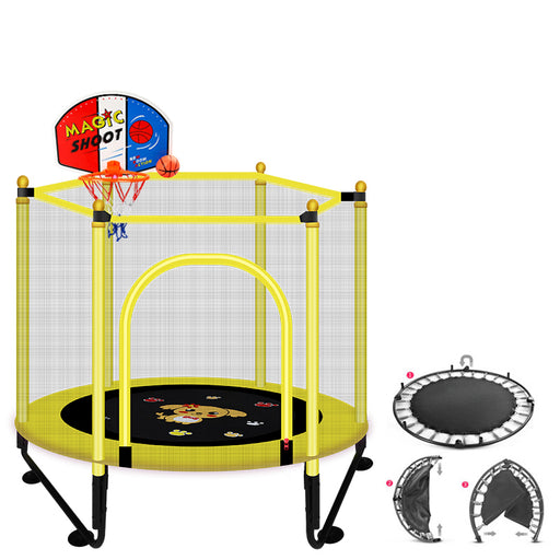 Baby Kids mesh net safety protection, basketball stand equipped, fold able yellow home play trampoline.
