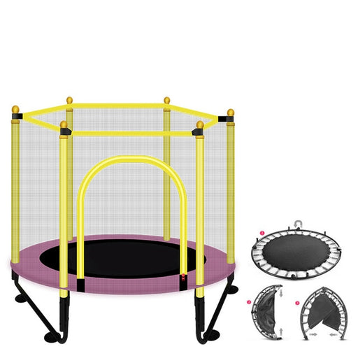 Baby Kids mesh net safety protection, basketball stand equipped, fold able purple home play trampoline.