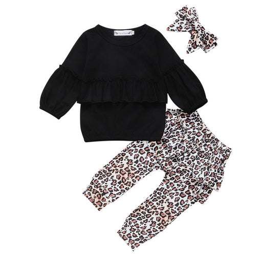 Baby Girls ruffle, flared full sleeve black t-shirt top, leopard print skirt pant, headband, dress set.