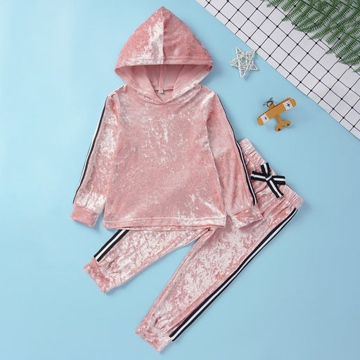Baby Girls hooded, full sleeve pullover velvet top and pant, dress set.