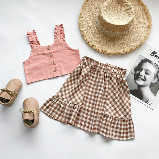 Girls ruffle sleeve, button front, sleeveless pink vest top and checked plaid brown skirt, summer dress set.