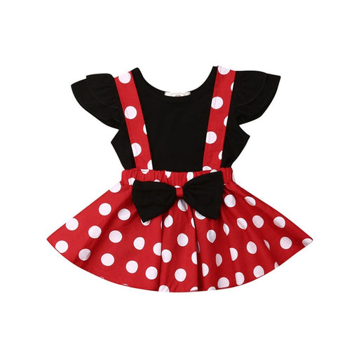 Baby Girls ruffle sleeve black top, polka dot print elastic waist, bow knot, red suspender skirt dress set.