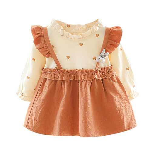 Newborn Baby Girls heart print, full sleeve, ruffle brown frock dress.