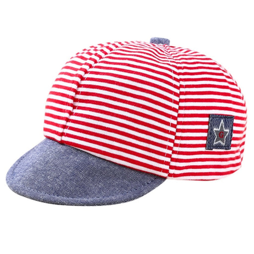 Baby Kids red & blue striped, star print, adjustable caps.