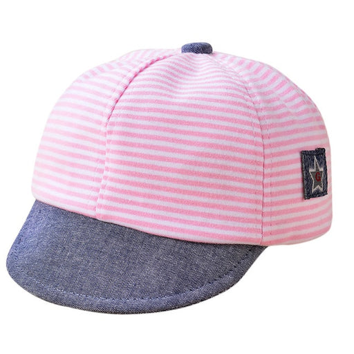 Baby Kids pink & blue striped, star print, adjustable caps.