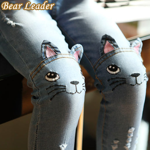 Bear Leader Girls Jeans Spring Cartoon Cat On Knee Trousers Children's Pencil Leggings Light Blue Pantalon Fillette 2-6Y - KiddyLanes