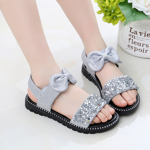 Girls sequin glitter & bow knot, ankle strap, shiny grey sandals.