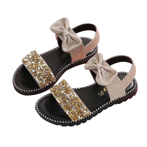 Girls sequin glitter & bow knot, ankle strap, shiny brown sandals.