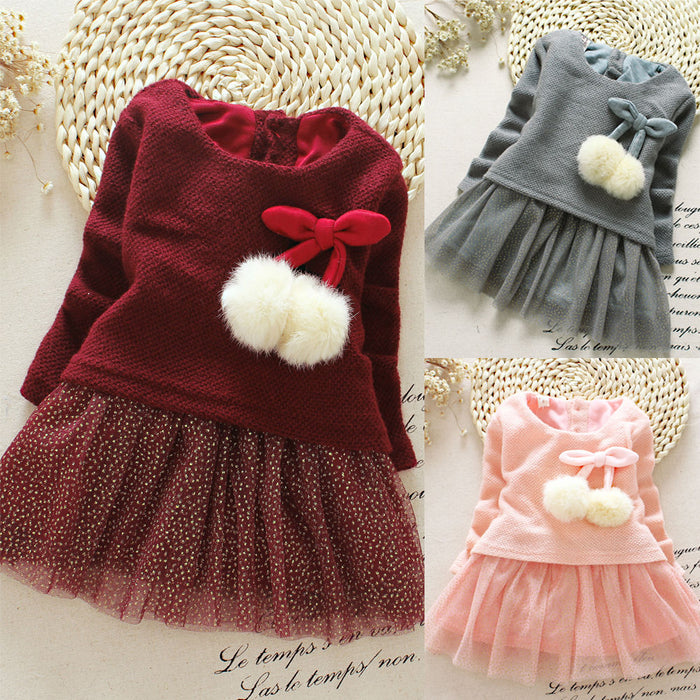 Frocks !! New Toddler Baby Kids Girls Clothing Dresses Spring Summer Brief Long Sleeve Knitted Bow - KiddyLanes