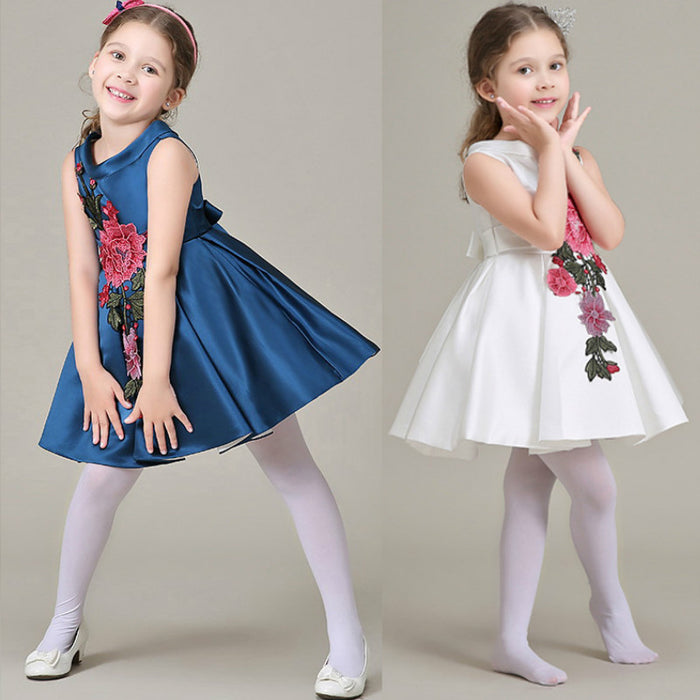 f048b8ed223e Embroidery flower girls dress ball gown solid dress girl for party ...