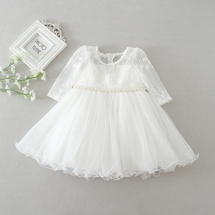 Baby girl dress white lace flower 1 year birthday dress pearl belt long sleeve ball gown infant clothes for 3-24 month - KiddyLanes