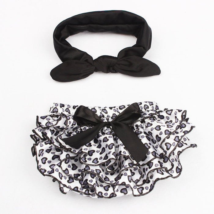 Ruffle Baby Girl Flower Diaper Cover with Top Knot Headband Heart Ruffle Bloomers - KiddyLanes