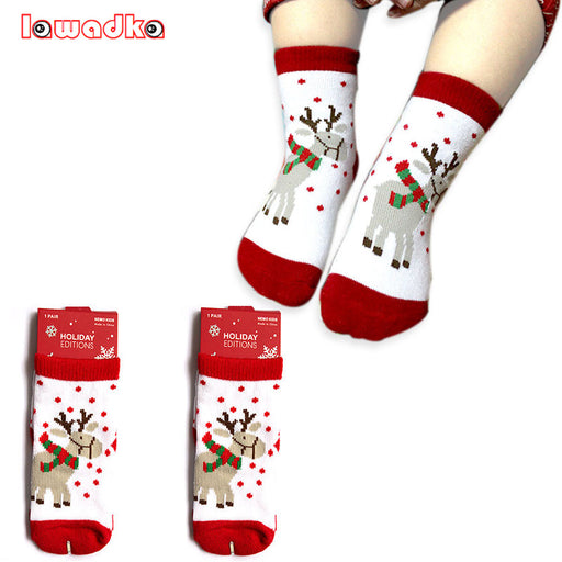 0-5T Cotton Cute Christmas Design Baby Socks Slip-resistant Cartoon New Born Children's Christmas Socks 6Style - KiddyLanes