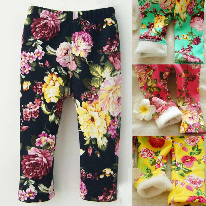 0-2 Years Winter Baby Girls Leggings Floral Print Casual Thick Pants for Kids clothing Cotton Warm Children's Trousers - KiddyLanes