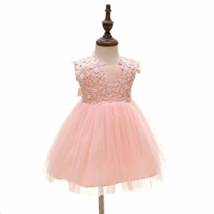 hot baby dresses girl pink lace flower baptism dress birthday party ba