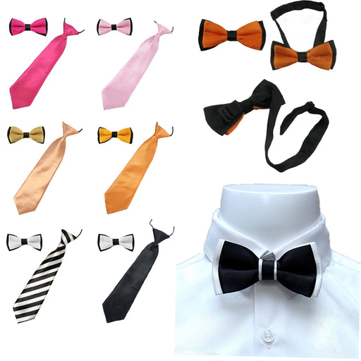 2PCS New Arrival Children's Kids Ties Bowtie Wedding Boys Bow Tie  Matching Colors Clothing Accessories - KiddyLanes