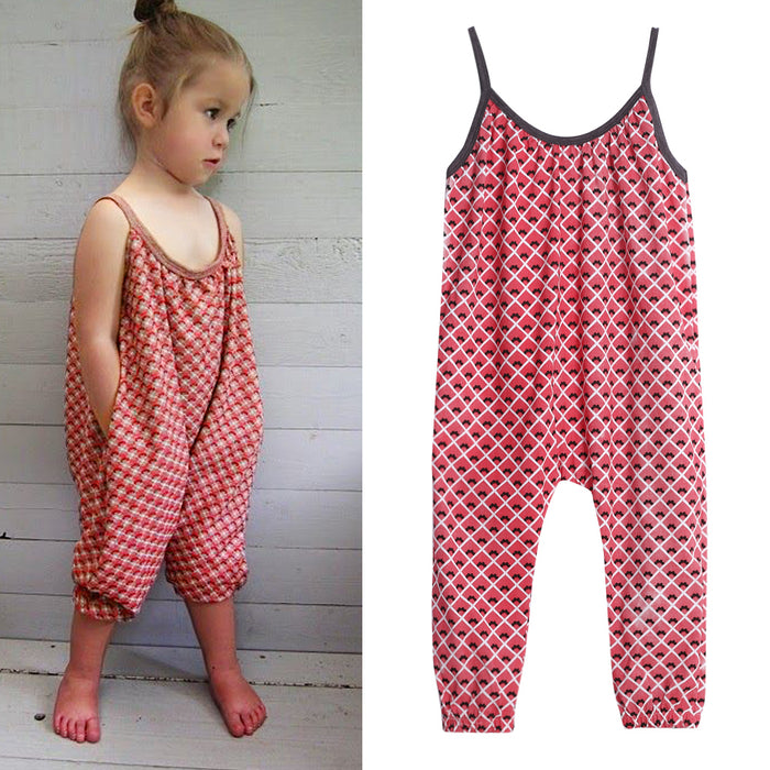 New Girls Overalls Kids One-piece Floral Playsuit Jumpsuits Children Suspender Outfit Girls Harem Pant Trousers Clothes - KiddyLanes