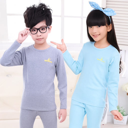 Autumn winter kids thermal underwear set combed cotton boys girls long johns children underwear 5M-16 years kids clothes - KiddyLanes