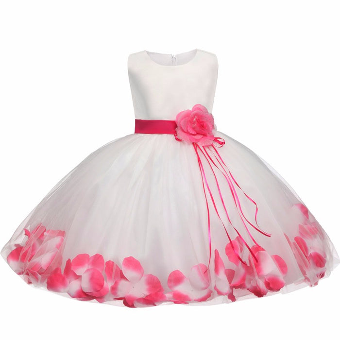 Tutu Flower Baby Dress For Wedding Party Sleeveless Infant Baby Petal Dresses For 1 Years Toddler Girl Birthday Baptism Clothes - KiddyLanes