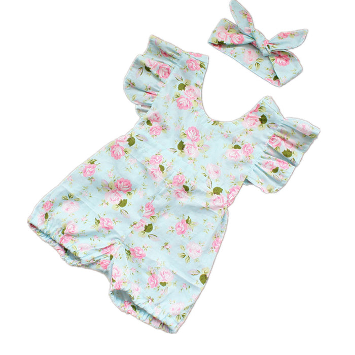 Princess Baby Girl Clothes Set Summer Lotus Flower Rompers Infant Flouncing Braces Jumpsuit & Headbands Toddler Girls Clothing - KiddyLanes