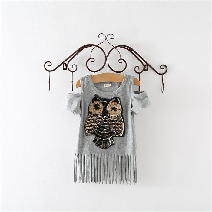 New Arrival Children T shirt Short sleeve Sequins OwlBaby girl clothes clothing Summer Spring Kids Girls t shirts - KiddyLanes