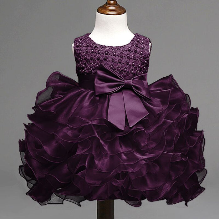 Summer Newborn Formal Dress Purple Sleeveless Infant Baptism Ball Gown Dress Clothes For Toddler Girl First Birthday Party - KiddyLanes