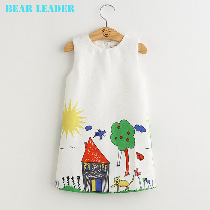 Bear Leader Girls Dresses 2017 Brand Autumn&Winter Princess Dress Kids Clothes Graffiti Print Design for Baby Girls Clothes 3-8Y - KiddyLanes