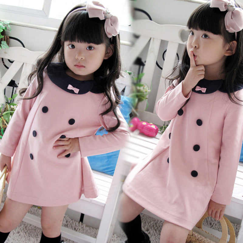 High quality Children clothing new Spring and Autumn girls double-breasted dress children princess girl dress free shipping - KiddyLanes