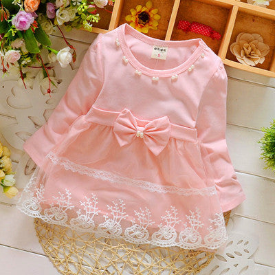 Spring Long Sleeve Lace Bow Baby Party Birthday girls kids Children Cotton dresses princess infant Dress - KiddyLanes