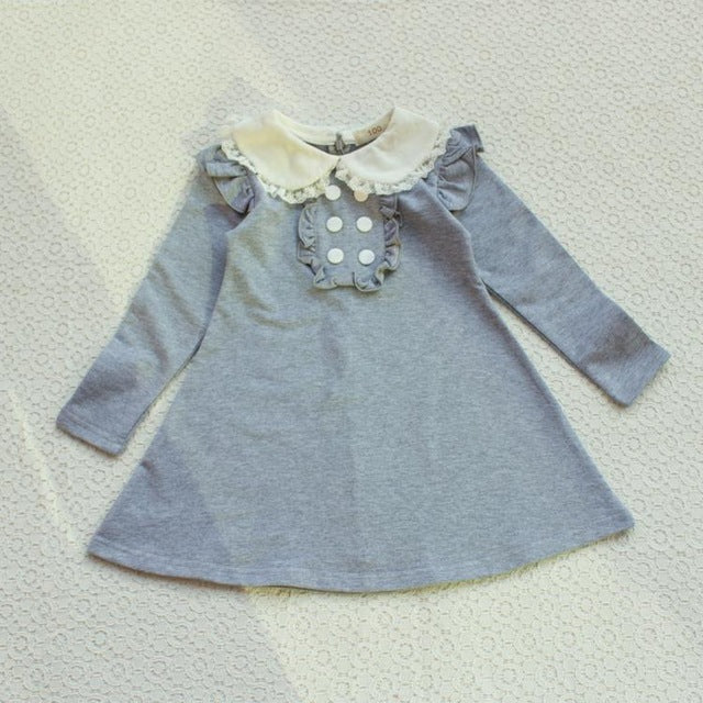Spring autumn new arrival cotton girl clothes doll collar long sleeved casual girls A-line mini dress kids clothing - KiddyLanes