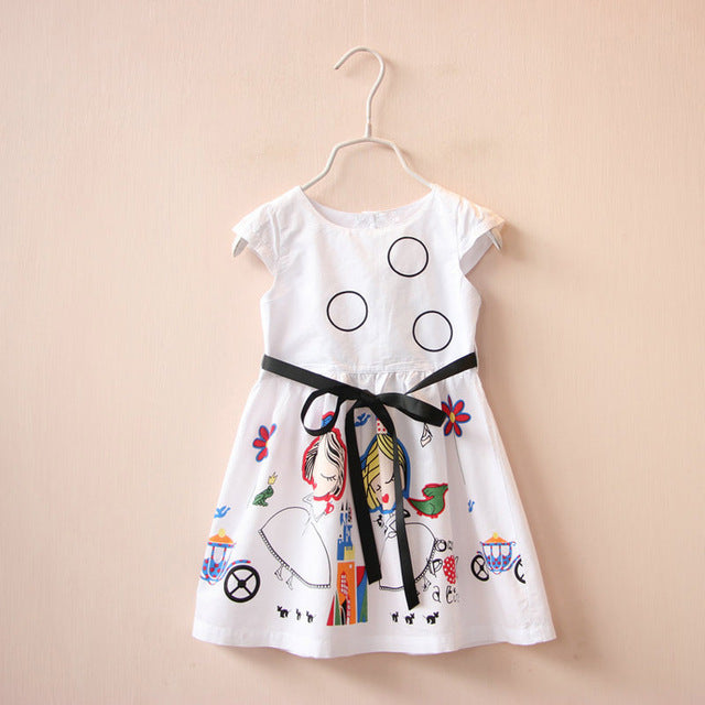Girls Summer Dress Kids Clothes Brand Baby Girl Dress with Sashes Robe Fille Character Princess Dress Children Clothing - KiddyLanes