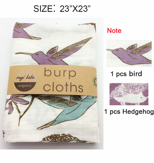 Baby Burp Cloths 2pcs/lot Organic cotton gauze Muslin activity baby bib bandanas Baby Bibs soft breathable Newborns Towel scarf - KiddyLanes