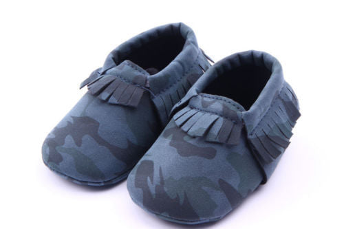 Cute Infant Toddler Baby Fringe Camouflage Tassel Soft Soled Moccasin Crib Shoes - KiddyLanes