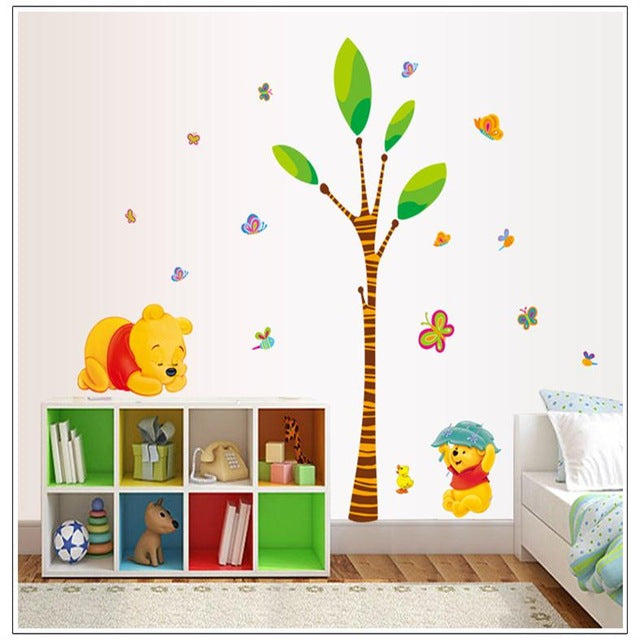 Animals zoo cartoon Winnie Pooh HOME bedroom decals wall stickers for kids rooms wall decals nursery party supply gifts poster