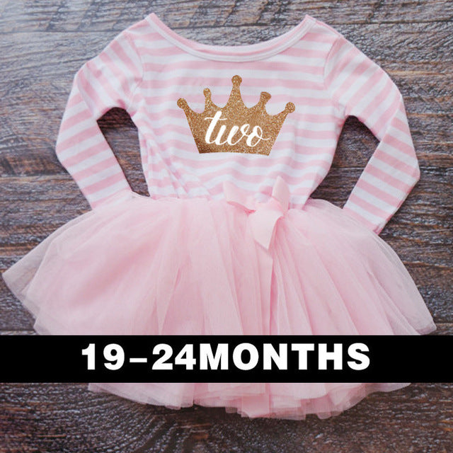 New Fashion Cute Newborn Dress For Christening Striped Crown Pattern One Two Year Birthday Pageant Wedding Baptism Gowns Dresses - KiddyLanes