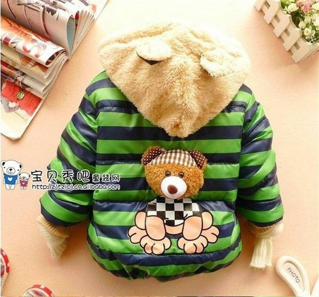 Baby boys Bear Winter Coat,children outerwear, Kids cotton thick warm hoodies jacket boys clothing in stock - KiddyLanes